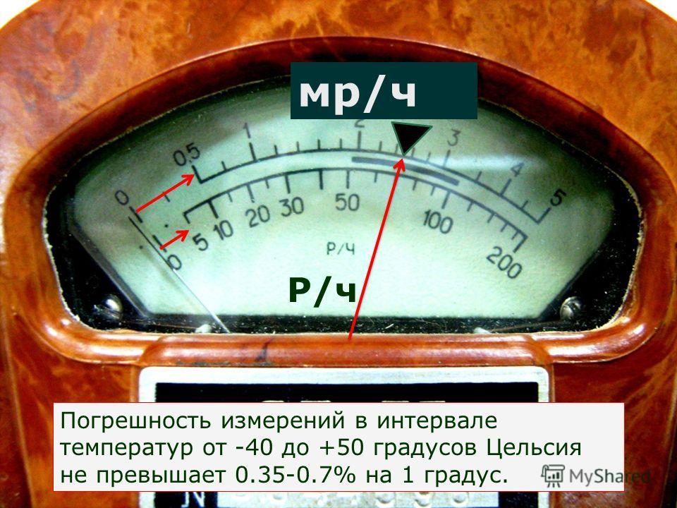 мр/ч Р/ч Погрешность измерений в интервале температур от -40 до +50 градусов Цельсия не превышает 0.35-0.7% на 1 градус.