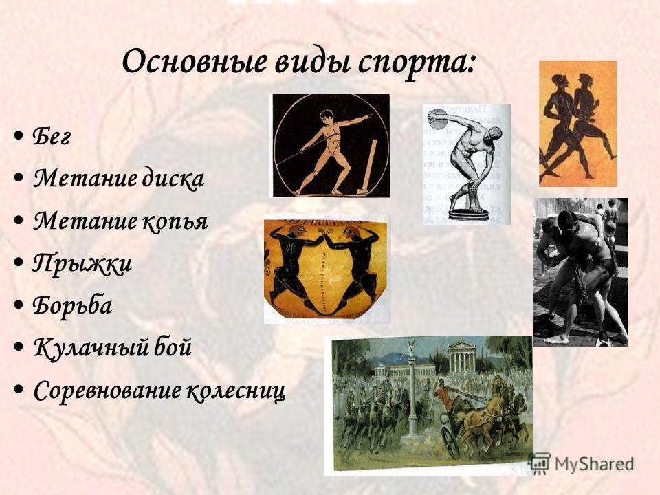 Основные виды спорта: Бег Метание диска Метание копья Прыжки Борьба Кулачный бой Соревнование колесниц