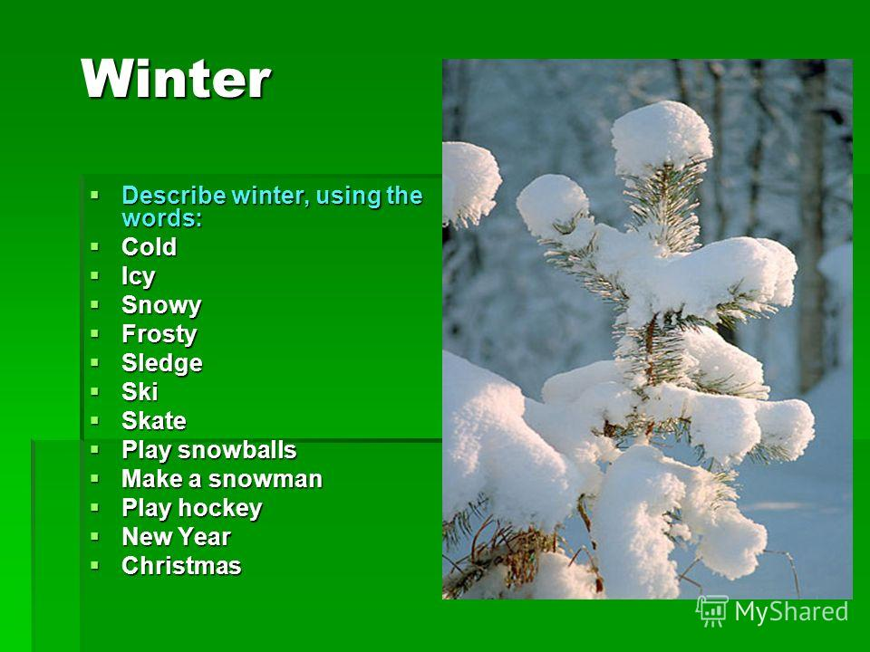 Winter Describe winter, using the words: Cold Icy Snowy Frosty Sledge Ski Skate Play snowballs Make a snowman Play hockey New Year Christmas