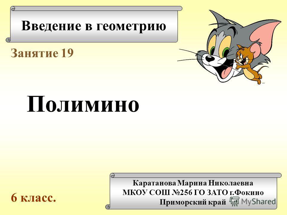 Введение в геометрию Каратанова Марина Николаевна МКОУ СОШ 256 ГО ЗАТО г.Фокино Приморский край Занятие 19 Полимино 6 класс.