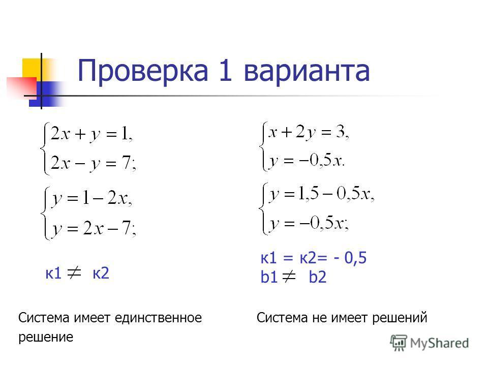 Проверка 1 варианта к 1 = к 2= - 0,5 b1 b2 Система не имеет решений к 1 к 2 Система имеет единственное решение