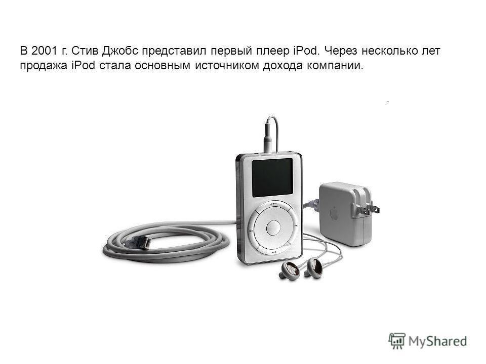 В 2001 г. Стив Джобс представил первый плеер iPod. Через несколько лет продажа iPod стала основным источником дохода компании.