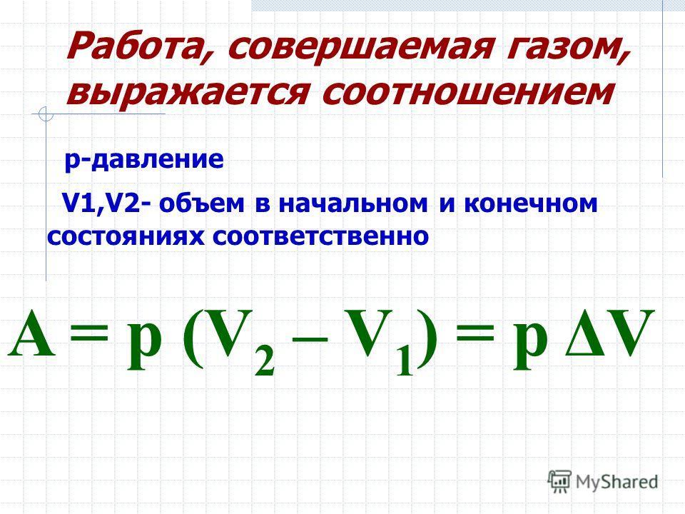 Работа, совершаемая газом, выражается соотношением A = p (V 2 – V 1 ) = p ΔV p-давление V1,V2- объем в начальном и конечном состояниях соответственно