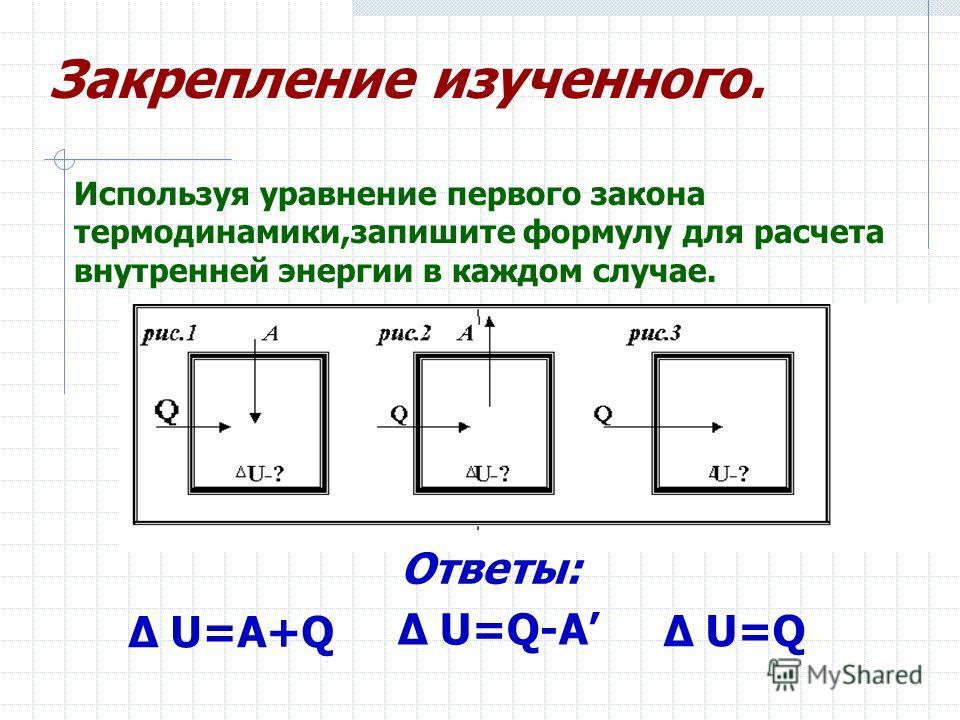 Δ U=A+Q Δ U=Q Δ U=Q-A Используя уравнение первого закона термодинамики,запишите формулу для расчета внутренней энергии в каждом случае. Закрепление изученного. Ответы: