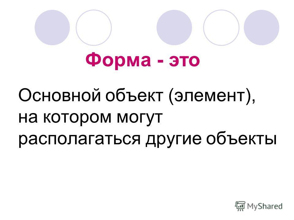 Форма - это Основной объект (элемент), на котором могут располагаться другие объекты