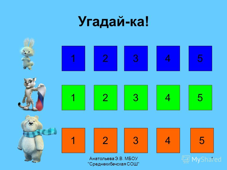 Анатольева Э.В. МБОУ Среднекибечская СОШ 1 12345 12345 12345 Угадай-ка!