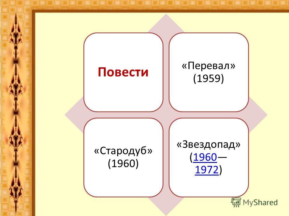 Повести «Перевал» (1959) «Стародуб» (1960) «Звездопад» (1960 1972)1960 1972