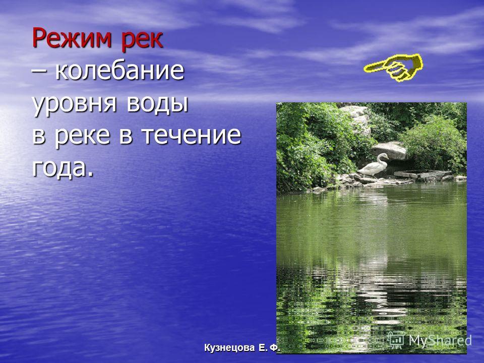 Режим рек – колебание уровня воды в реке в течение года. Кузнецова Е. Ф.
