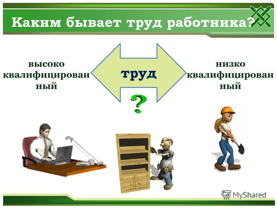 Каким бывает труд работника? труд высококвалифицированный низко квалифицированный