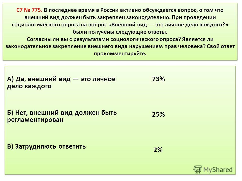 C7 775. В последнее время в России активно обсуждается вопрос, о том что внешний вид должен быть закреплен законодательно. При проведении социологического опроса на вопрос «Внешний вид это личное дело каждого?» были получены следующие ответы. Согласн