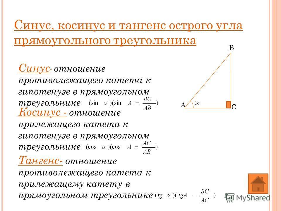 Синус, косинус и тангенс острого угла прямоугольного треугольника Косинус - отношение прилежащего катета к гипотенузе в прямоугольном треугольнике Синус - отношение противолежащего катета к гипотенузе в прямоугольном треугольнике Тангенс- отношение п