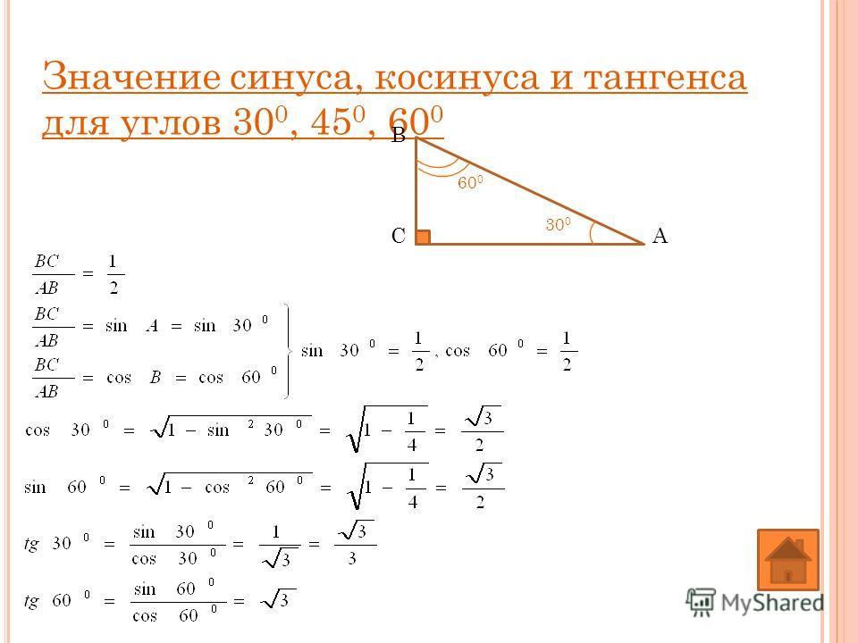 Значение синуса, косинуса и тангенса для углов 30 0, 45 0, 60 0 А В С 60 0 30 0