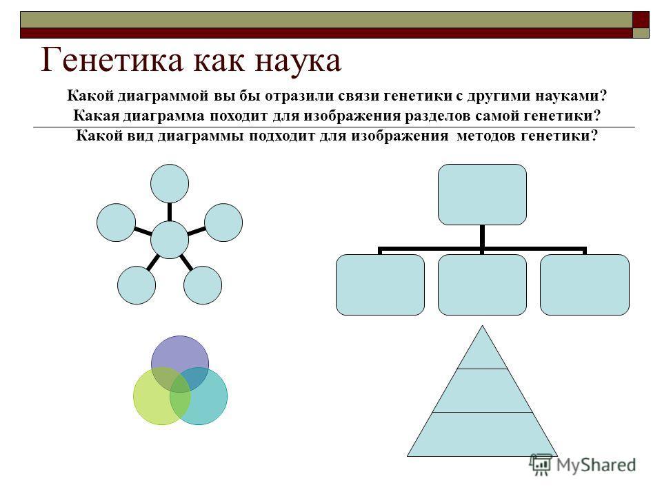 Генетика как наука Какой диаграммой вы бы отразили связи генетики с другими науками? Какая диаграмма походит для изображения разделов самой генетики? Какой вид диаграммы подходит для изображения методов генетики?