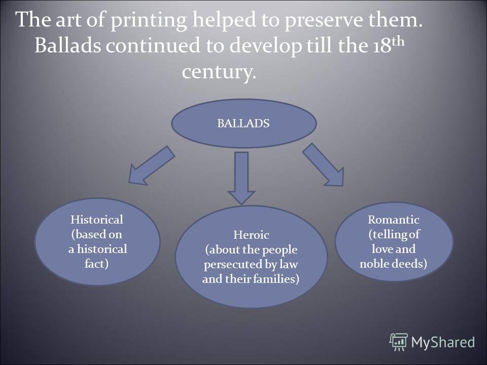 The art of printing helped to preserve them. Ballads continued to develop till the 18 th century. Historical (based on a historical fact) Heroic (about the people persecuted by law and their families) Romantic (telling of love and noble deeds) BALLAD