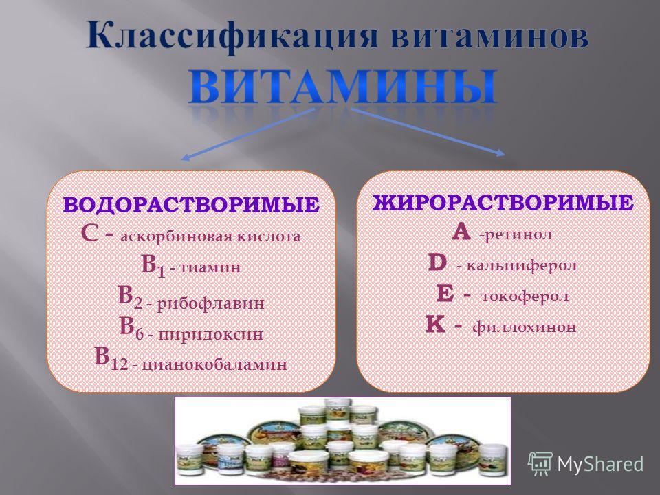 ВОДОРАСТВОРИМЫЕ С - аскорбиновая кислота В 1 - тиамин В 2 - рибофлавин В 6 - пиридоксин В 12 - цианокобаламин ЖИРОРАСТВОРИМЫЕ А -ретинол D - кальциферол Е - токоферол К - филлохинон