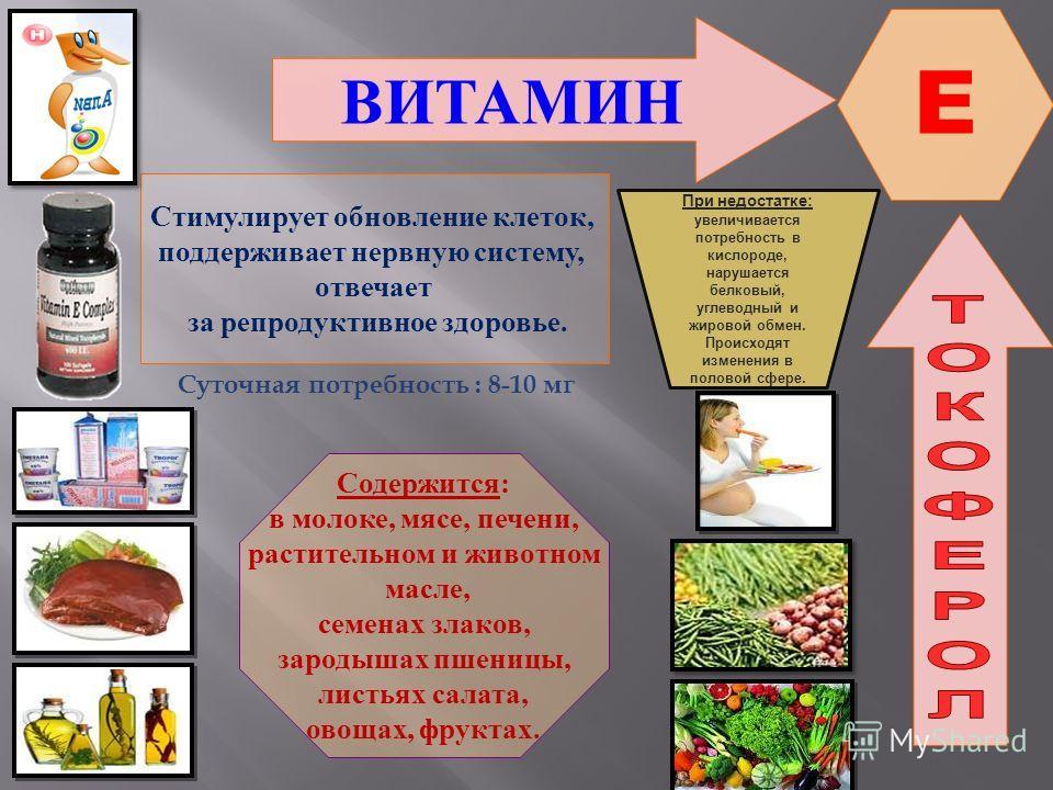 ВИТАМИН E Стимулирует обновление клеток, поддерживает нервную систему, отвечает за репродуктивное здоровье. Содержится: в молоке, мясе, печени, растительном и животном масле, семенах злаков, зародышах пшеницы, листьях салата, овощах, фруктах. При нед