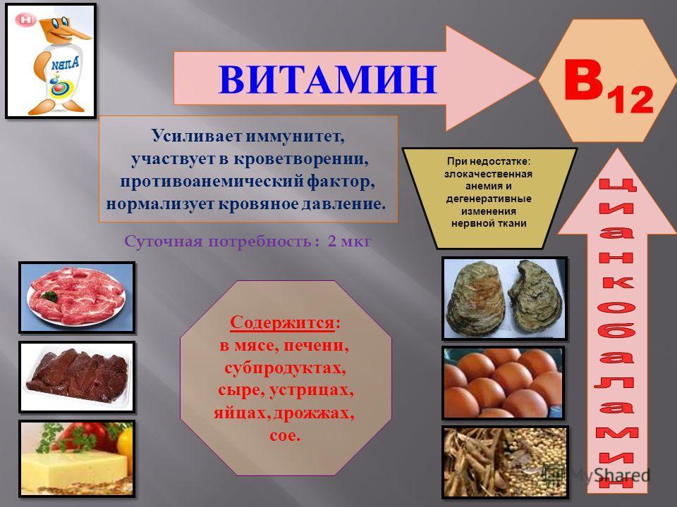 ВИТАМИН B 12 Усиливает иммунитет, участвует в кроветворении, противоанемический фактор, нормализует кровяное давление. Содержится: в мясе, печени, субпродуктах, сыре, устрицах, яйцах, дрожжах, сое. При недостатке : злокачественная анемия и дегенерати