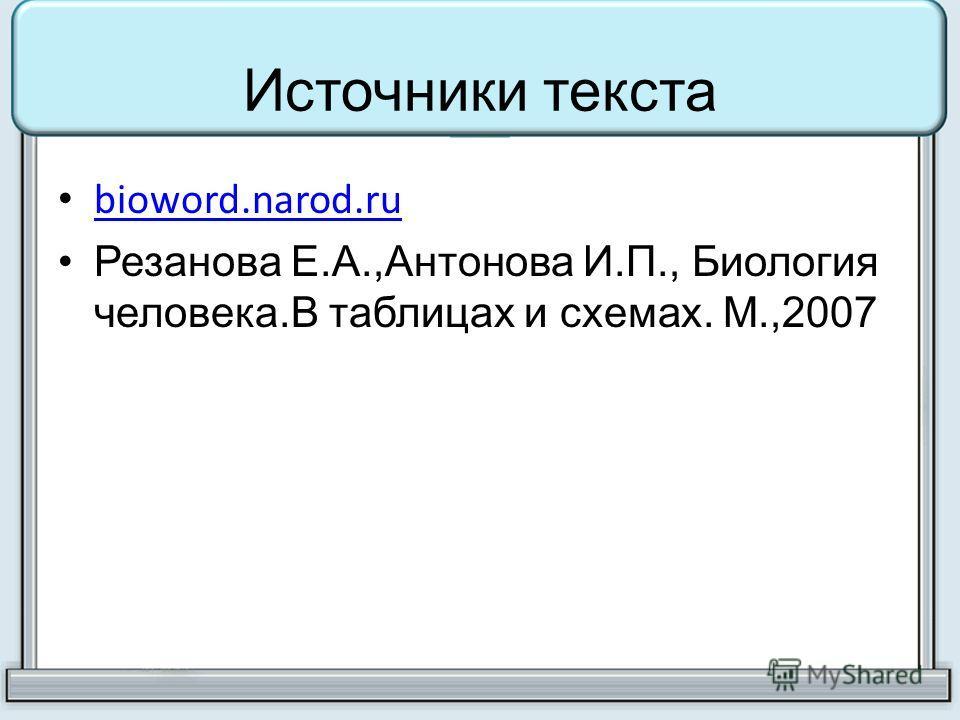 bioword.narod.ru Резанова Е.А.,Антонова И.П., Биология человека.В таблицах и схемах. М.,2007
