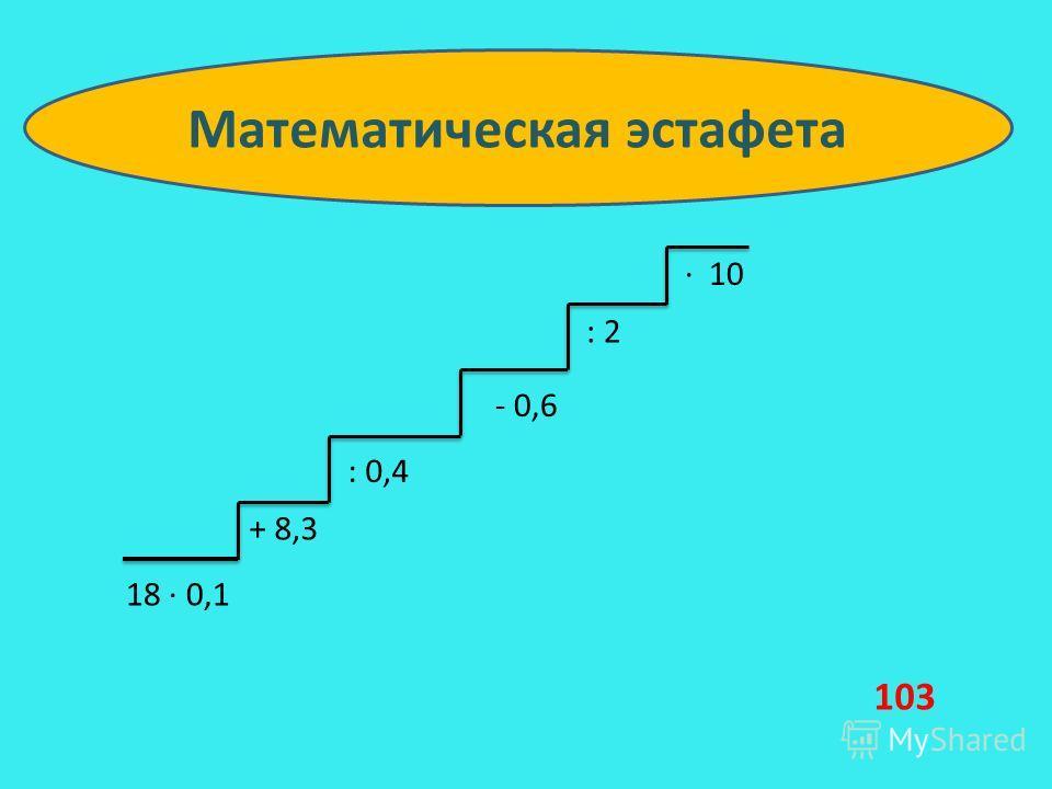 18 0,1 + 8,3 : 0,4 - 0,6 : 2 10 Математическая эстафета 103