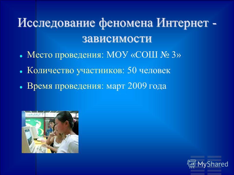 Исследование феномена Интернет - зависимости Место проведения: МОУ «СОШ 3» Количество участников: 50 человек Время проведения: март 2009 года