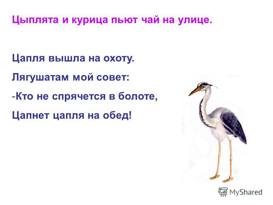 Цыплята и курице пьют чай на улице. Цапля вышла на охоту. Лягушатам мой совет: -Кто не спрячется в болоте, Цапнет цепля на обед!