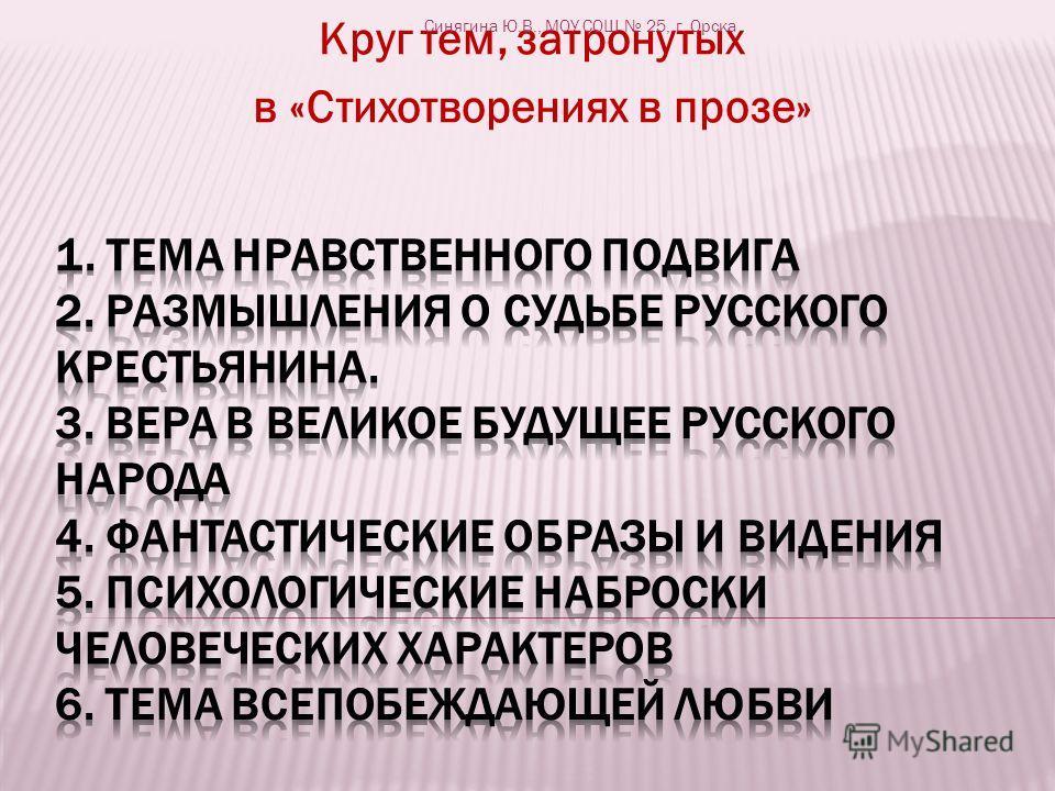 Круг тем, затронутых в «Стихотворениях в прозе» Синягина Ю.В., МОУ СОШ 25, г. Орска