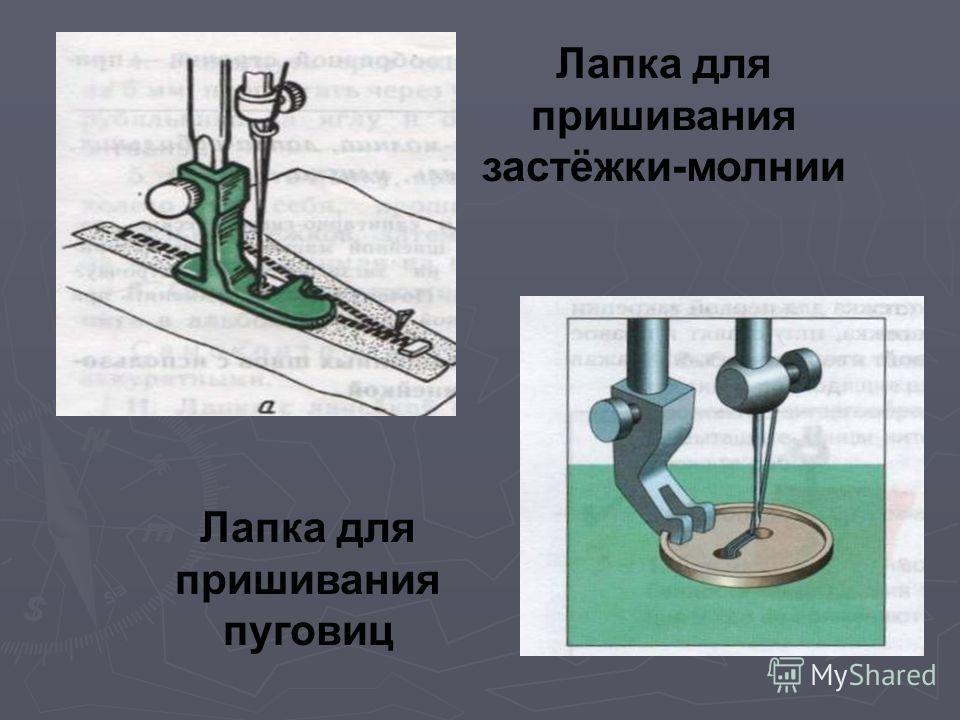Лапка для пришивания застёжки-молнии Лапка для пришивания пуговиц