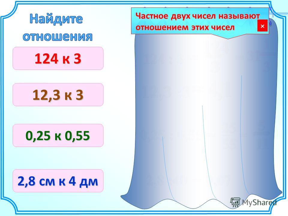 124 к 3 12,3 к 3 0,25 к 0,55 2,8 см к 4 дм Частное двух чисел называют отношением этих чисел