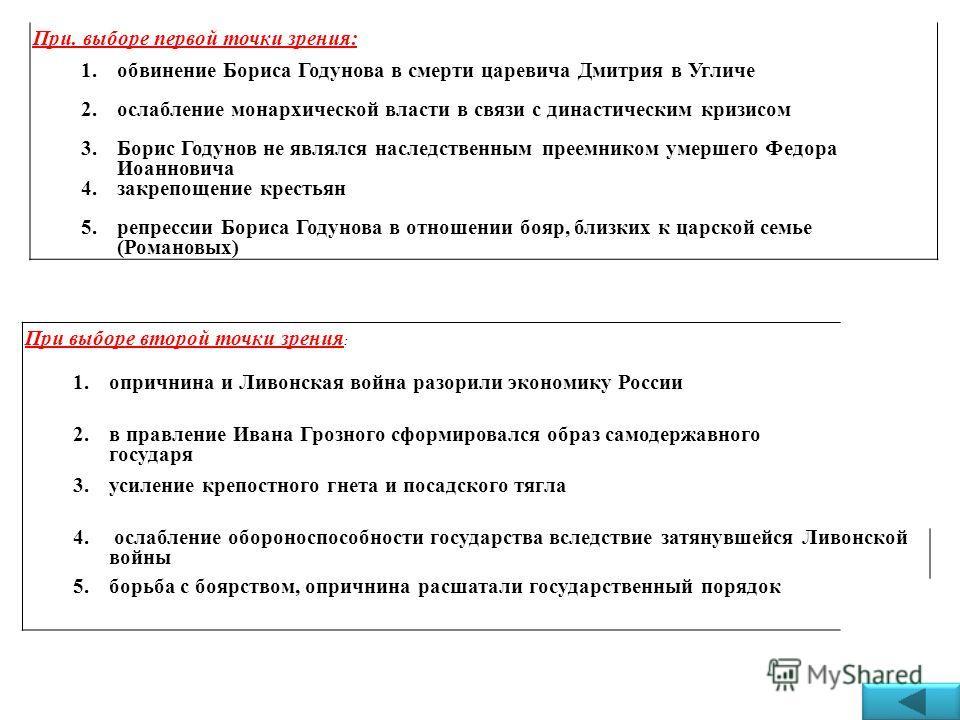 При. выборе первой точки зрения: 1. обвинение Бориса Годунова в смерти царевича Дмитрия в Угличе 2. ослабление монархической власти в связи с династическим кризисом 3. Борис Годунов не являлся наследственным преемником умершего Федора Иоанновича 4. з