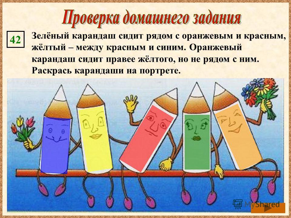 Зелёный карандаш сидит рядом с оранжевым и красным, жёлтый – между красным и синим. Оранжевый карандаш сидит правее жёлтого, но не рядом с ним. Раскрась карандаши на портрете. 42