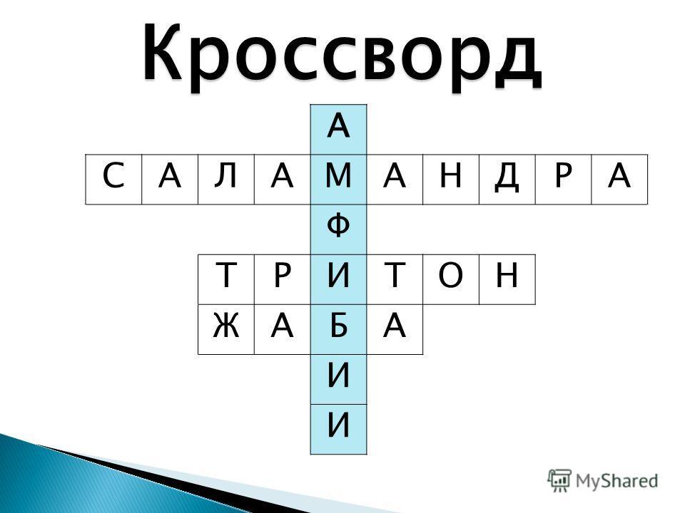 Кроссворд А САЛАМАНДРА Ф ТРИТОН ЖАБА И И