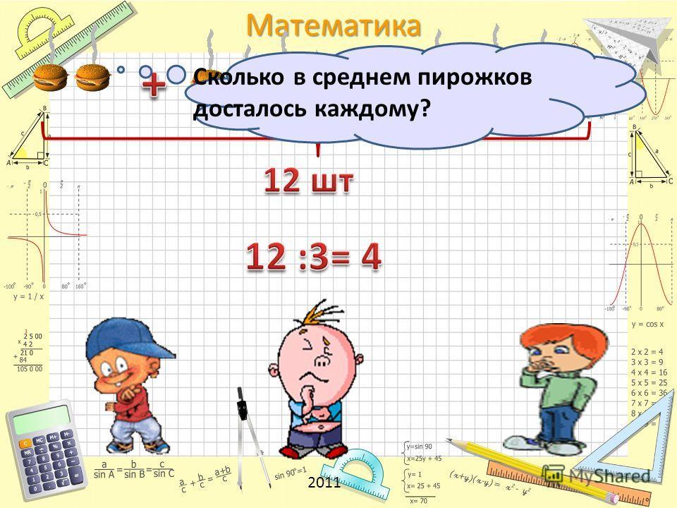 Математика Сколько в среднем пирожков досталось каждому? 2011