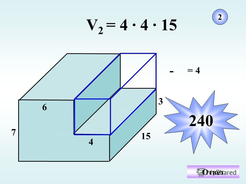 6 7 15 3 4 - = 4 V 2 = 4 · 4 · 15 2 240 Ответ