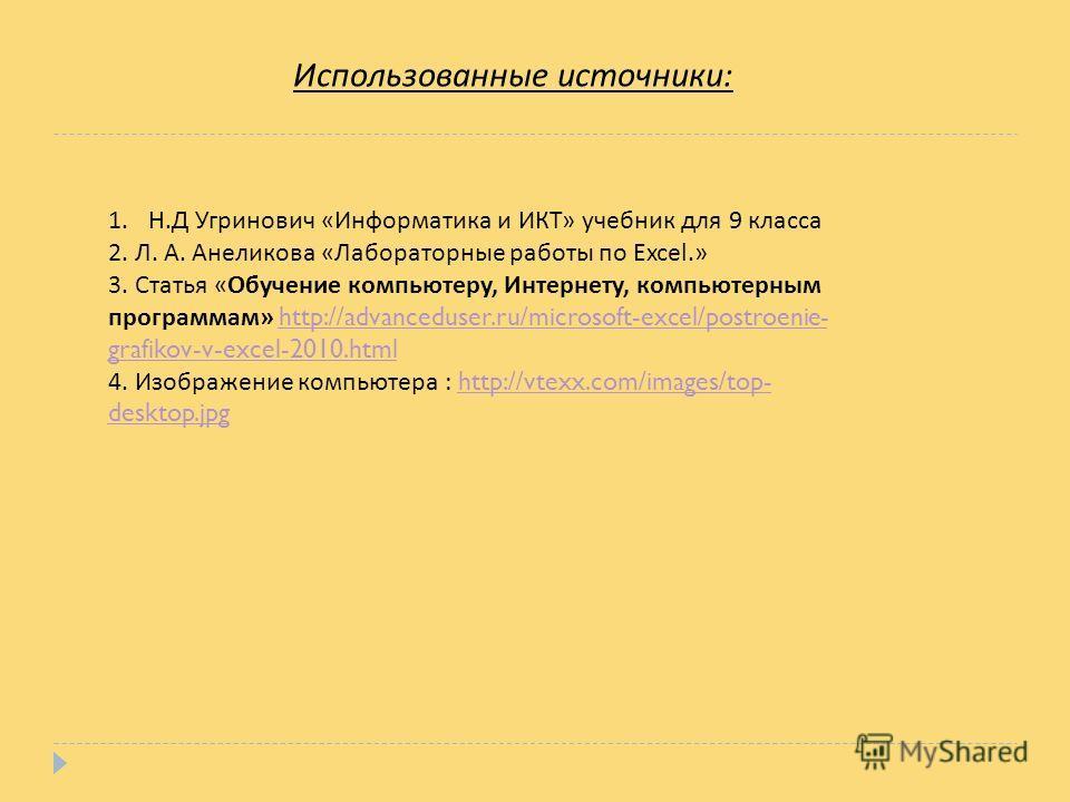 Использованные источники : 1.Н. Д Угринович « Информатика и ИКТ » учебник для 9 класса 2. Л. А. Анеликова « Лабораторные работы по Excel.» 3. Статья « Обучение компьютеру, Интернету, компьютерным программам » http://advanceduser.ru/microsoft-excel/po