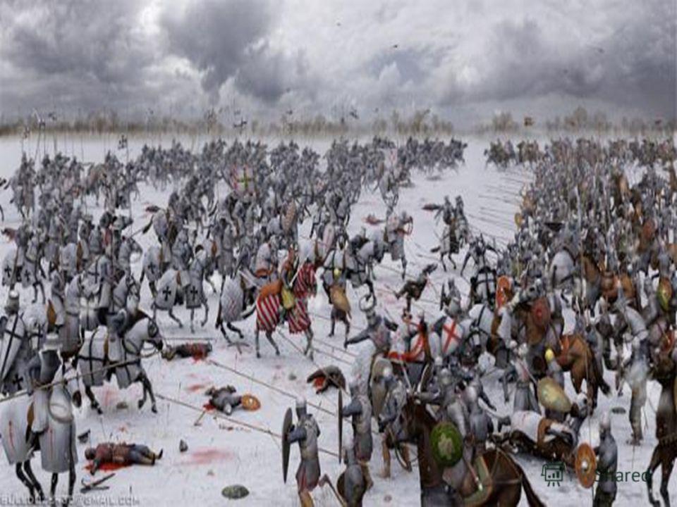 Ледовое побоище 1242 г. В этой битве молодой князь Александр Невский (ему в то время было всего 22 года) проявил себя как мудрый и опытный полководец. Узнав, что рыцари движутся на Псков через Чудское озеро, скованное льдом, Невский расположил свое в