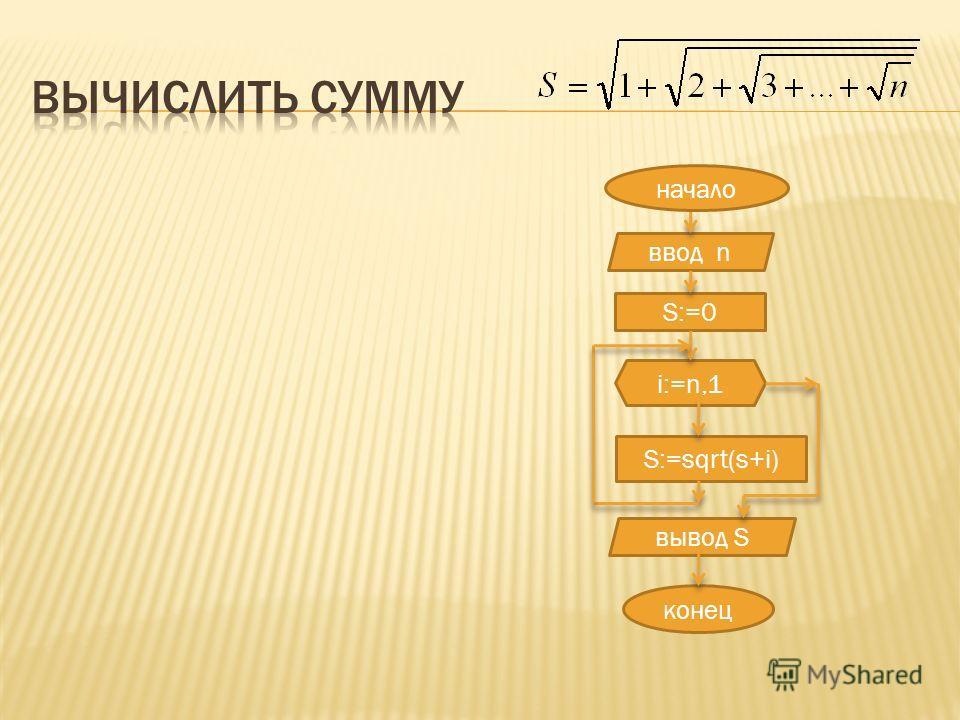 ввод n S:=0 i:=n,1 S:=sqrt(s+i) конец вывод S начало
