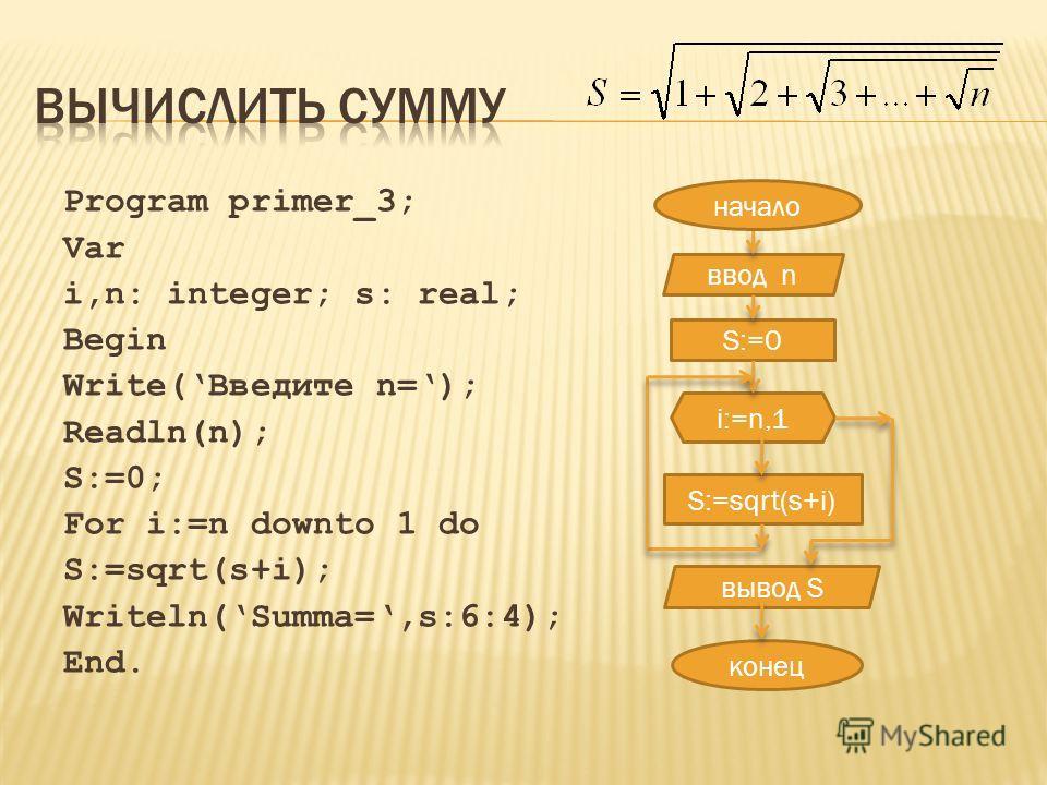 Program primer_3; Var i,n: integer; s: real; Begin Write(Введите n=); Readln(n); S:=0; For i:=n downto 1 do S:=sqrt(s+i); Writeln(Summa=,s:6:4); End. ввод n S:=0 i:=n,1 S:=sqrt(s+i) конец вывод S начало