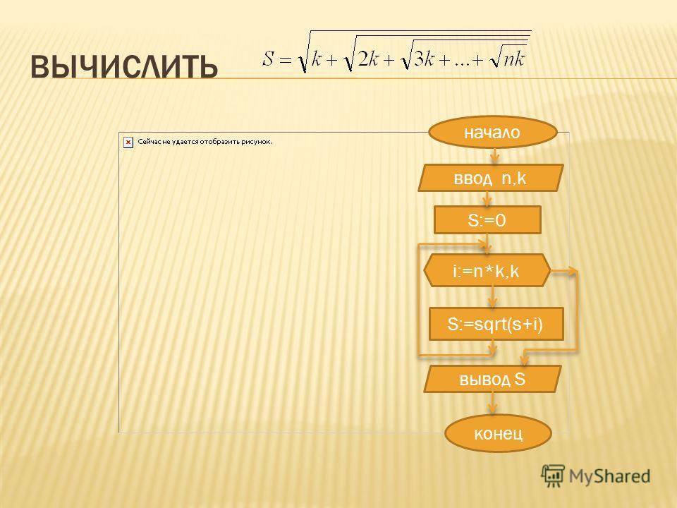 ВЫЧИСЛИТЬ начало ввод n,k S:=0 i:=n*k,k S:=sqrt(s+i) конец вывод S