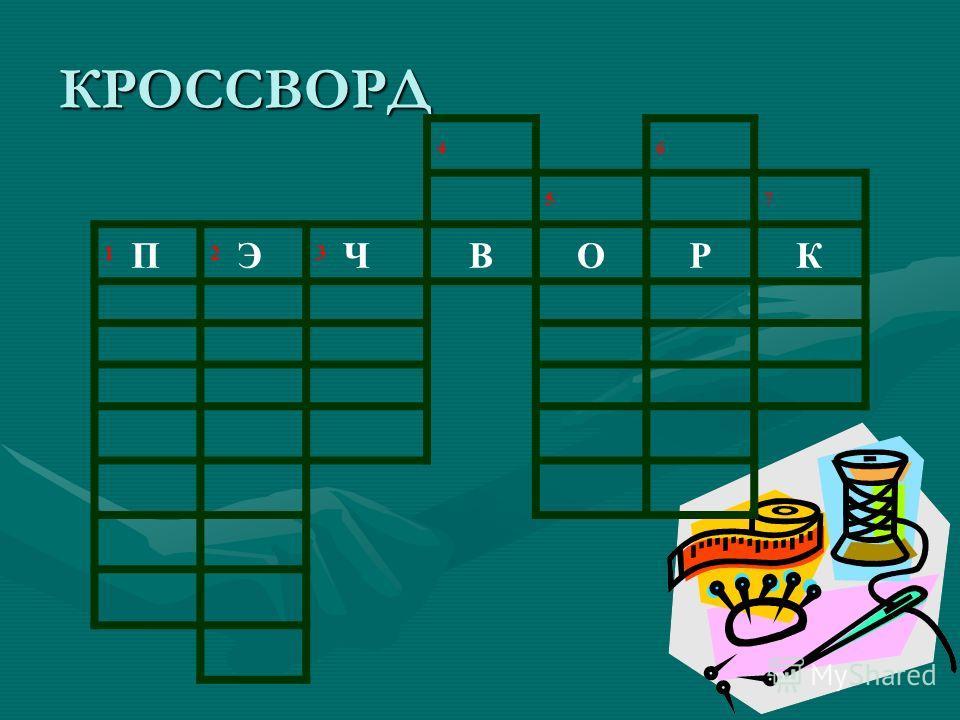 КРОССВОРД 4 6 57 1 П 2 Э 3 ЧВОРК