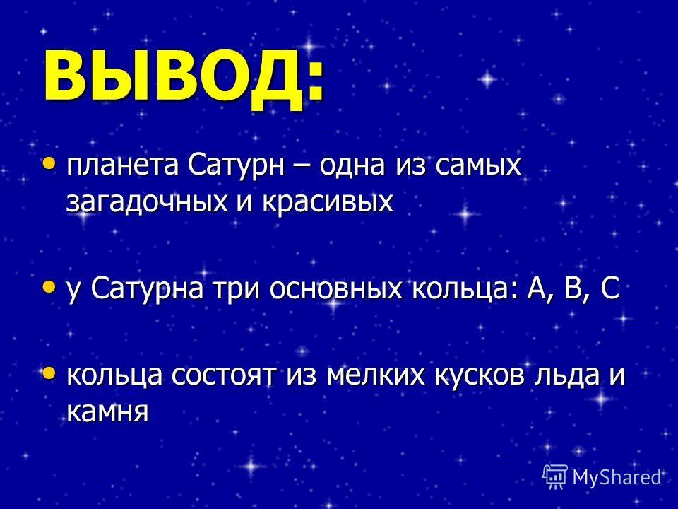 ВЫВОД: планета Сатурн – одна из самых загадочных и красивых планета Сатурн – одна из самых загадочных и красивых у Сатурна три основных кольца: А, В, С у Сатурна три основных кольца: А, В, С кольца состоят из мелких кусков льда и камня кольца состоят