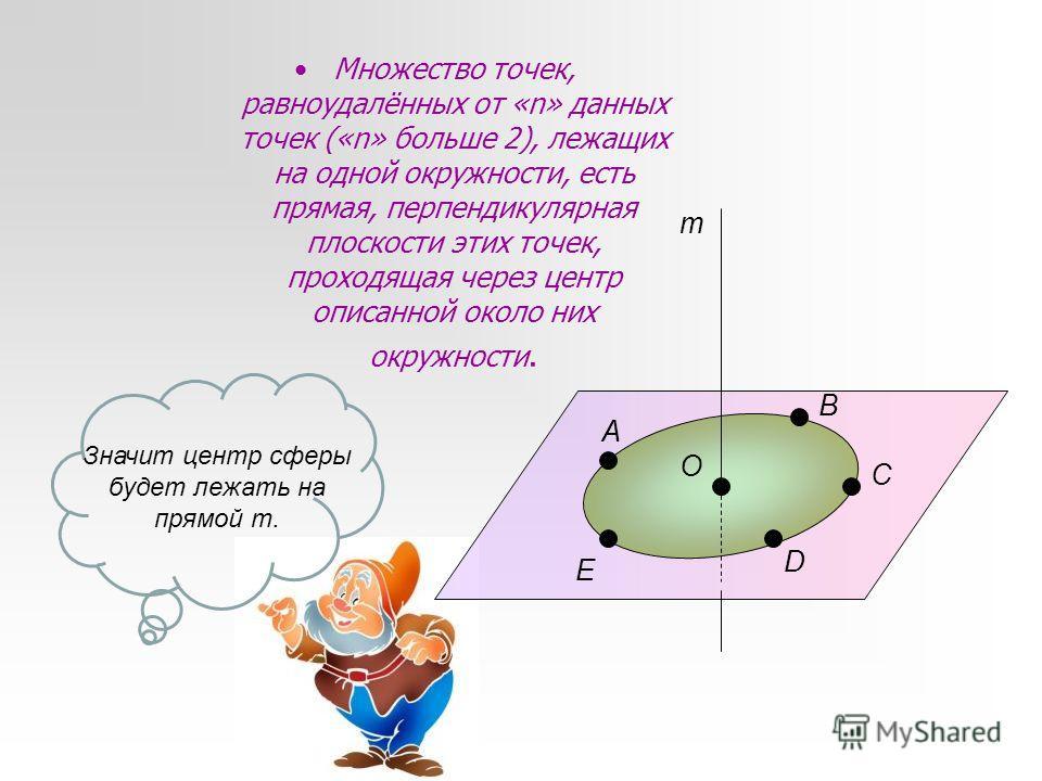 Множество точек, равноудалённых от «n» данных точек («n» больше 2), лежащих на одной окружности, есть прямая, перпендикулярная плоскости этих точек, проходящая через центр описанной около них окружности. А В С D E O m Значит центр сферы будет лежать