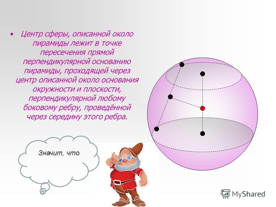 Центр сферы, описанной около пирамиды лежит в точке пересечения прямой перпендикулярной основанию пирамиды, проходящей через центр описанной около основания окружности и плоскости, перпендикулярной любому боковому ребру, проведённой через середину эт