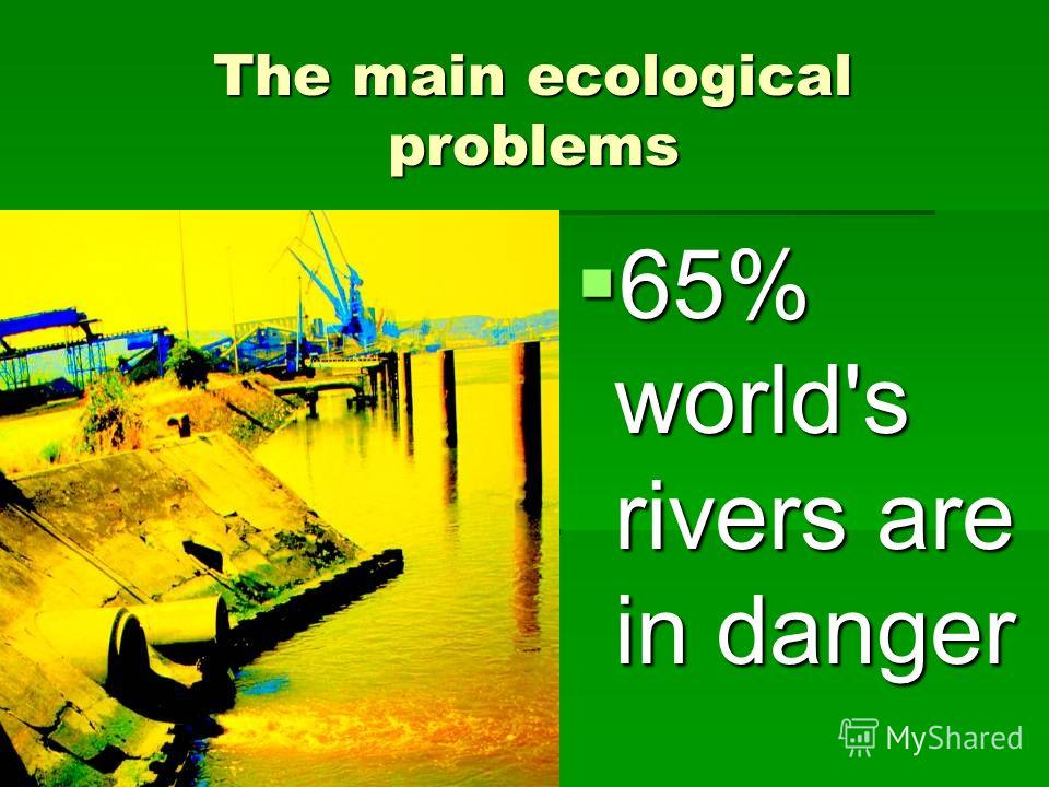 The main ecological problems 65% world's rivers are in danger 65% world's rivers are in danger