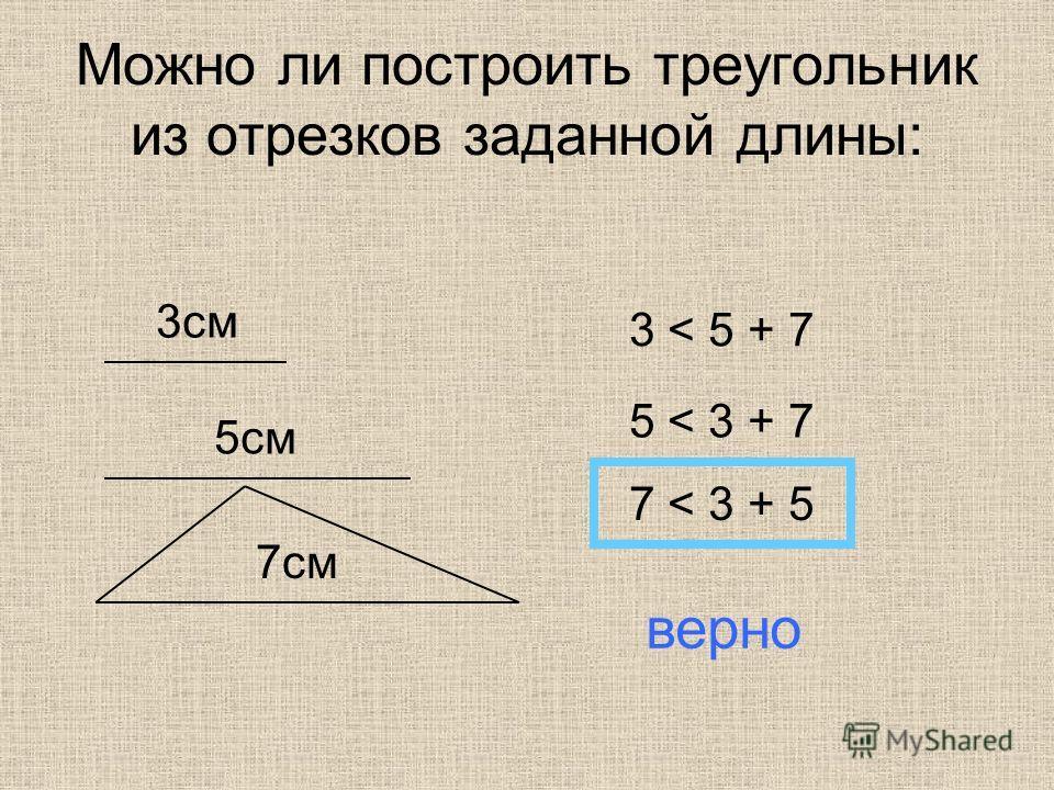 Можно ли построить треугольник из отрезков заданной длины: 3 см 5 см 7 см 3 < 5 + 7 5 < 3 + 7 7 < 3 + 5 верно