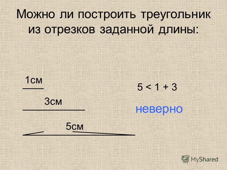 Можно ли построить треугольник из отрезков заданной длины: 1 см 3 см 5 см 5 < 1 + 3 неверно