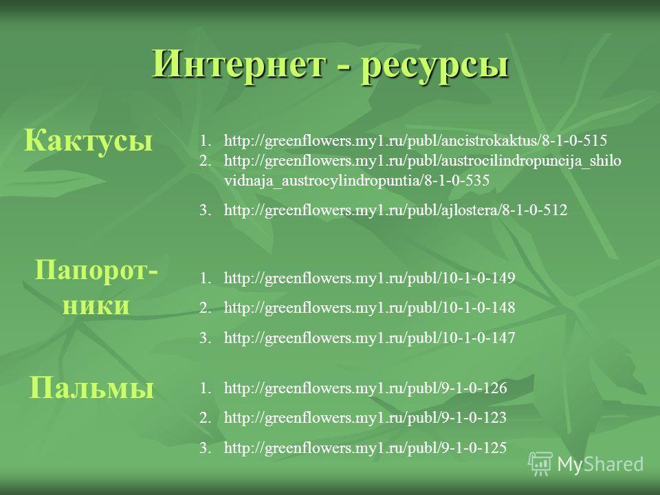Интернет - ресурсы Кактусы 1.http://greenflowers.my1.ru/publ/ancistrokaktus/8-1-0-515 2.http://greenflowers.my1.ru/publ/austrocilindropuncija_shilo vidnaja_austrocylindropuntia/8-1-0-535 3.http://greenflowers.my1.ru/publ/ajlostera/8-1-0-512 Папорот-