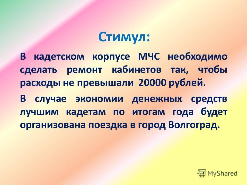 Стимул: В кадетском корпусе МЧС необходимо сделать ремонт кабинетов так, чтобы расходы не превышали 20000 рублей. В случае экономии денежных средств лучшим кадетам по итогам года будет организована поездка в город Волгоград.