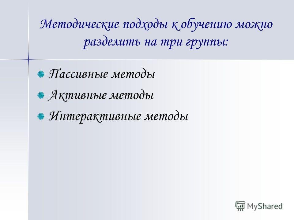 Методические подходы к обучению можно разделить на три группы: Пассивные методы Активные методы Интерактивные методы