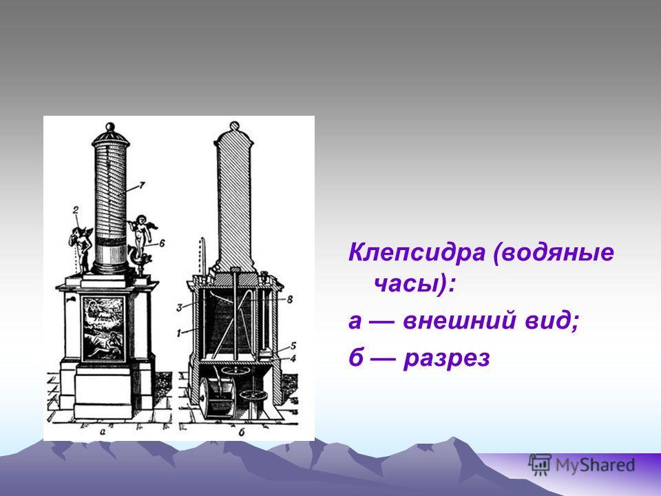 Клепсидра (водяные часы): а внешний вид; б разрез