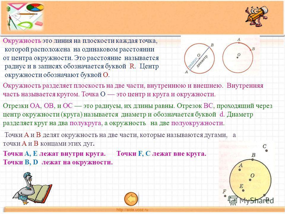 а) центр окружности б) радиус в) диаметр г) хорда Чем является на рисунке ОС ?